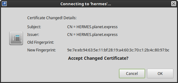 remmina remote desktop protocol rdp certificate details